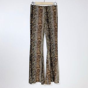 Snakeskin Print Bell Bottom Flared Pants